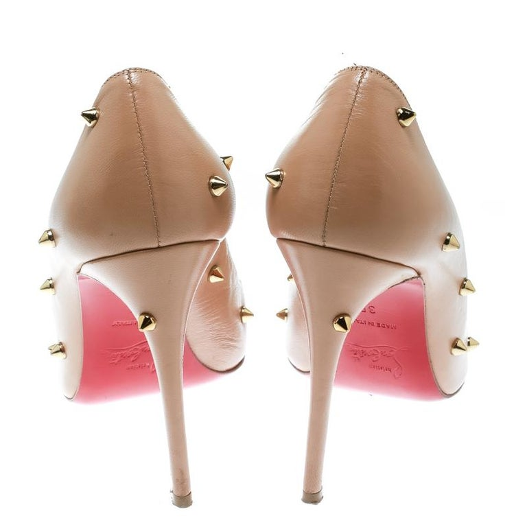 Christian Louboutin Beige Leather Degraspike Pumps Size 35 For Sale 3