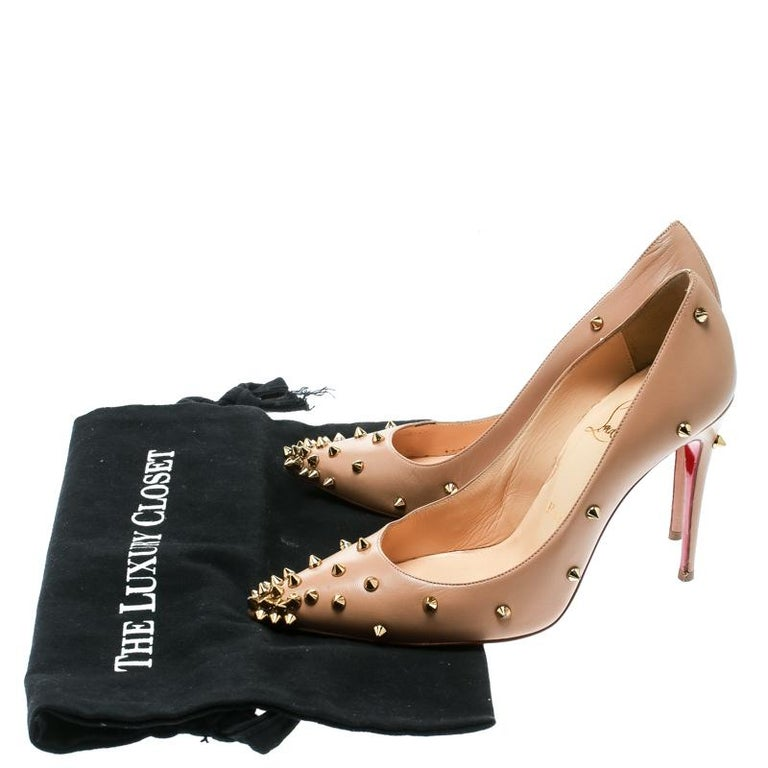 Christian Louboutin Beige Leather Degraspike Pumps Size 35 For Sale 4