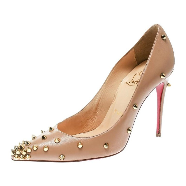 Christian Louboutin Beige Leather Degraspike Pumps Size 35 For Sale