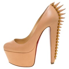 Christian Louboutin Beige Leather Electropump Spiked Platform Pumps Size 36