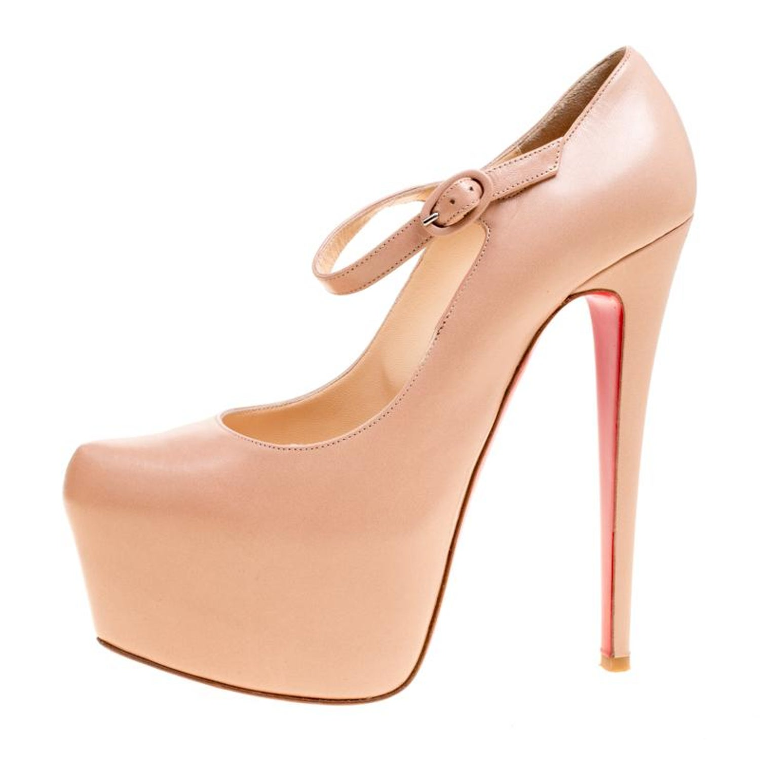 2ca178003055 Christian Louboutin Beige Leather Lady Daf Mary Jane Pumps Size 38 For Sale  at 1stdibs