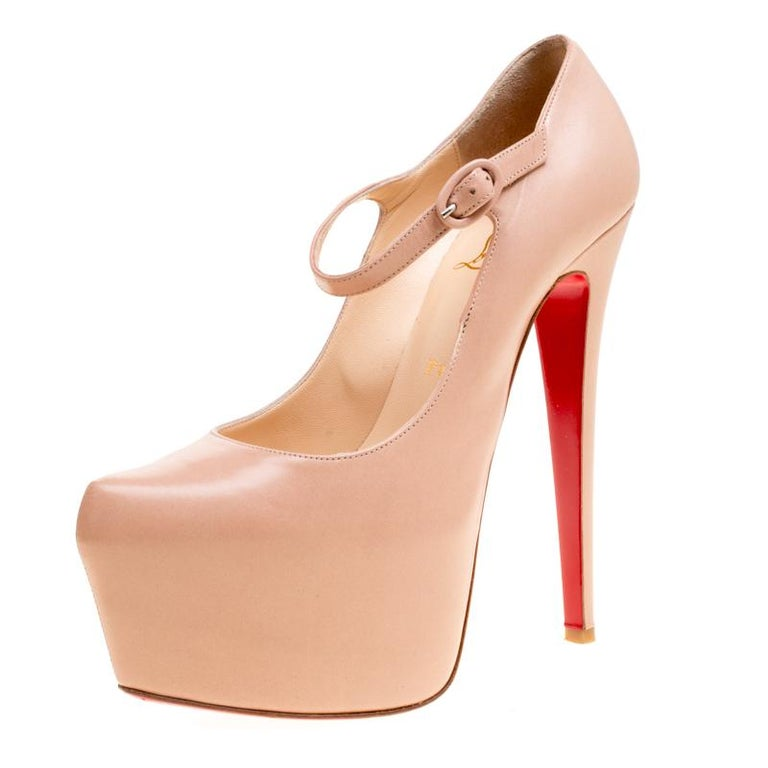 buy popular a896d 9bda1 Christian Louboutin Beige Leather Lady Daf Mary Jane Pumps Size 38