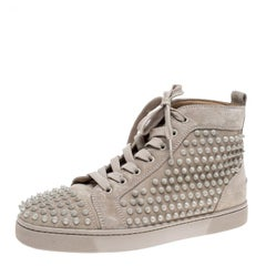 Christian Louboutin Beige Leather Louis Spike High Top Sneakers Size 40