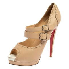Christian Louboutin Beige Leather Luly Mary Jane Peep Toe Platform Pumps Size 40