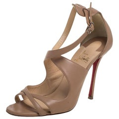 Christian Louboutin Beige Leather Malefissima Sandals Size 39