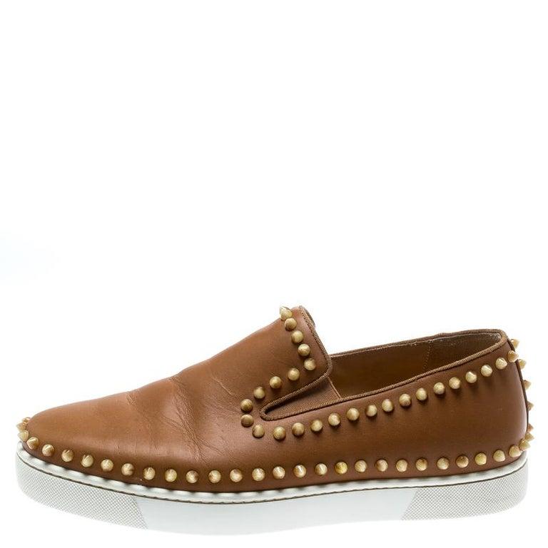 Christian Louboutin Beige Leather Spike Pik Boat Slip On Sneakers Size 42 2