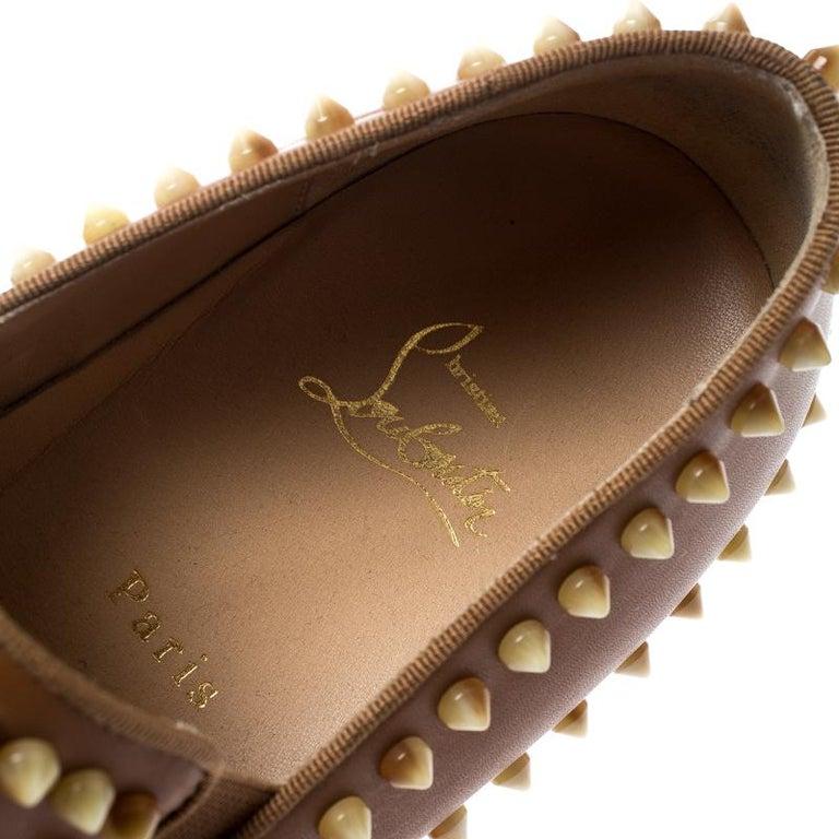 Christian Louboutin Beige Leather Spike Pik Boat Slip On Sneakers Size 42 3