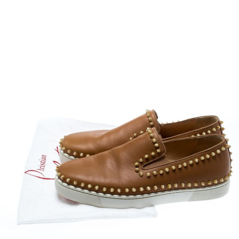 Christian Louboutin Beige Leather Spike Pik Boat Slip On Sneakers Size 42 4