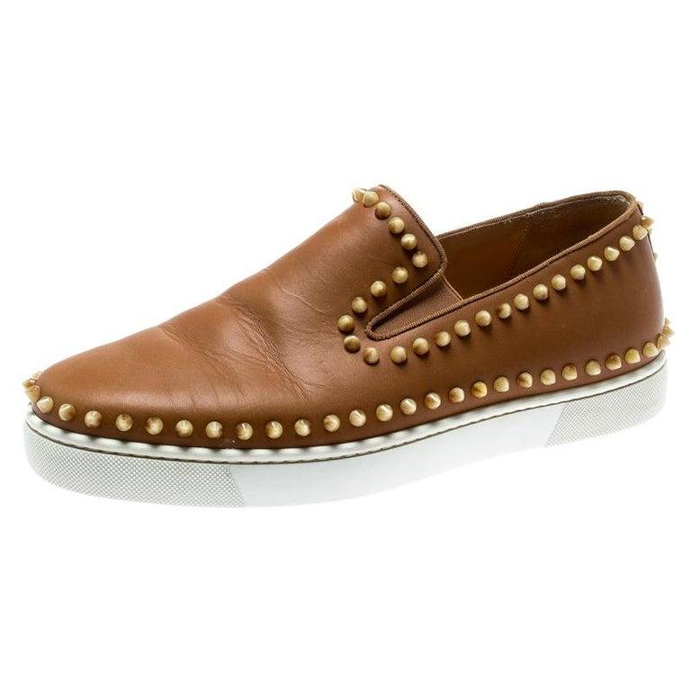 Christian Louboutin Beige Leather Spike Pik Boat Slip On Sneakers Size 42