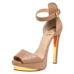 Christian Louboutin Beige Leather Tuctopen Platform Sandals Size 39