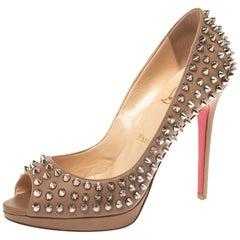 Christian Louboutin Beige Leather Yolanda Spikes Peep Toe Pumps Size 38