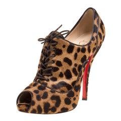 Christian Louboutin Beige Leopard Print Calfhair Lady Derby Peep Toe Booties Siz