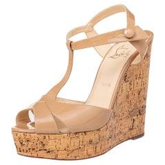 Christian Louboutin Beige Marina Cork Wedge Platform Sandals Size 38