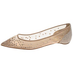 Christian Louboutin Beige Mesh & Lame Fabric Pointed Toe Ballet Flats Size 38.5