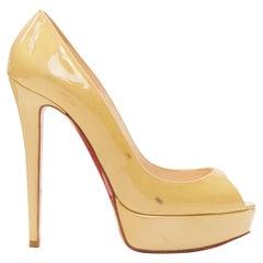 CHRISTIAN LOUBOUTIN beige nude peep toe platform high heel pump EU38