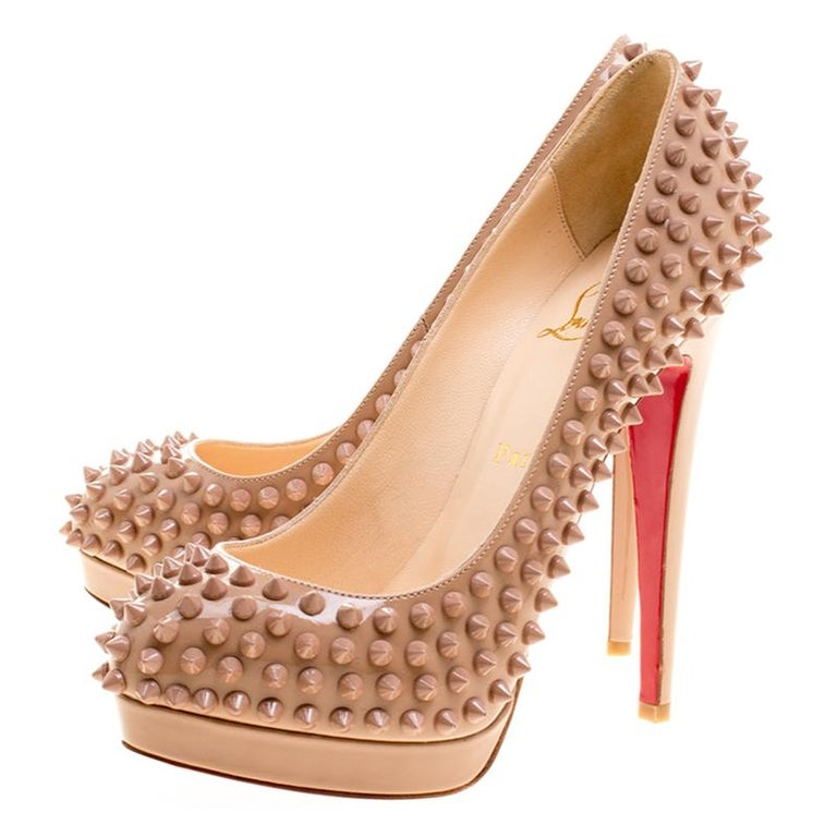 Christian Louboutin Beige Patent Alti Spikes Platform Pumps Size 37.5 For Sale 1