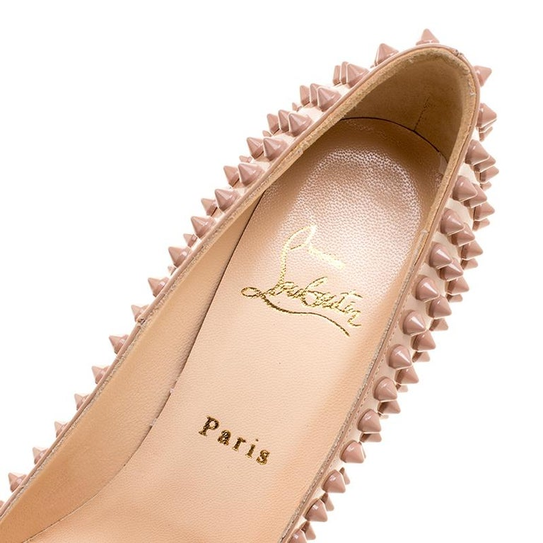 Christian Louboutin Beige Patent Alti Spikes Platform Pumps Size 37.5 For Sale 3