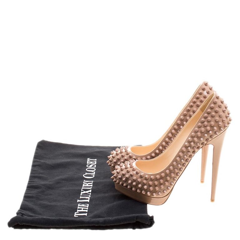 Christian Louboutin Beige Patent Alti Spikes Platform Pumps Size 37.5 For Sale 4