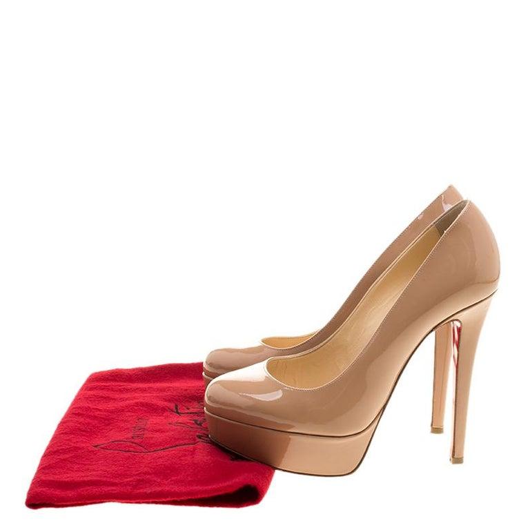 Christian Louboutin Beige Patent Leather Bianca Platform Pumps Size 35.5 For Sale 4