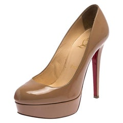 Christian Louboutin Beige Patent Leather Bianca Platform Pumps Size 36.5