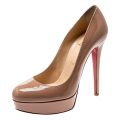 Christian Louboutin Beige Patent Leather Bianca Platform Pumps Size 38