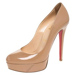 Christian Louboutin Beige Patent Leather Bianca Platform Pumps Size 39