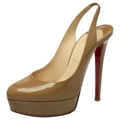 Christian Louboutin Beige Patent Leather Bianca Slingback Sandals Size 38