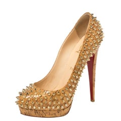 Christian Louboutin Beige Patent Leather Cork Alti Spike Platform Pumps Size 39