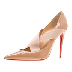 Christian Louboutin Beige Patent Leather Cross Strap Pointed Toe Pumps Size 39.5