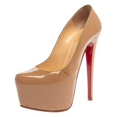 Christian Louboutin Beige Patent Leather Daffodile Pumps Size 37.5