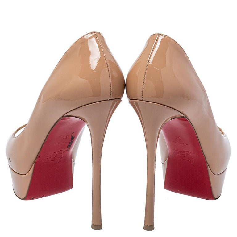 Christian Louboutin Beige Patent Leather Fetish Peep Toe Pumps Size 37 For Sale 1