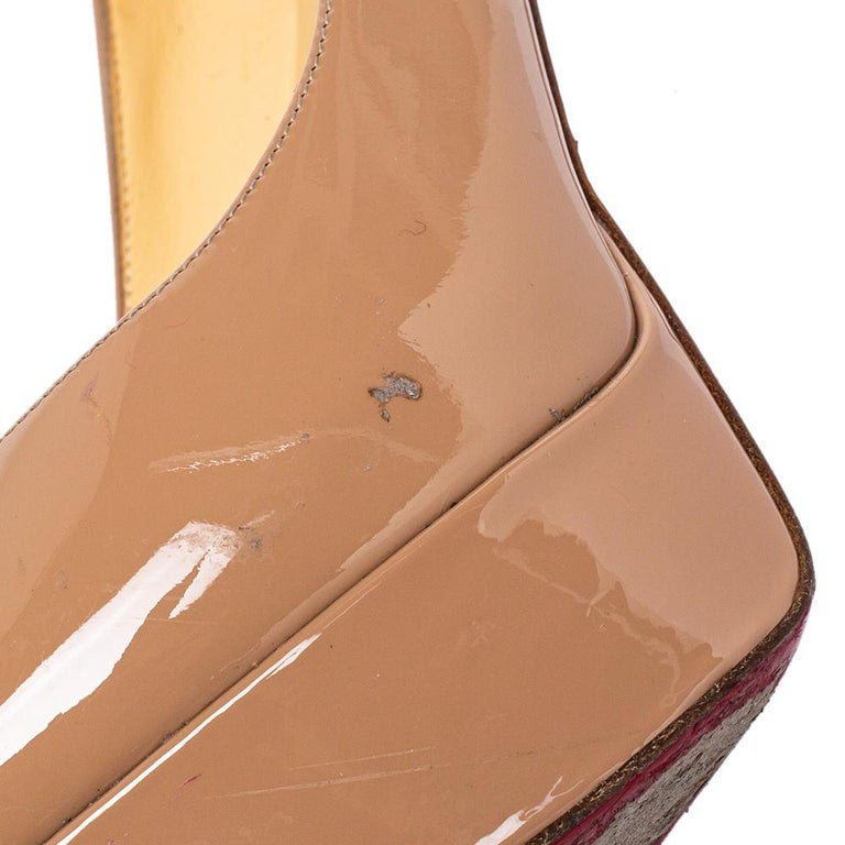 Christian Louboutin Beige Patent Leather Fetish Peep Toe Pumps Size 37 For Sale 2