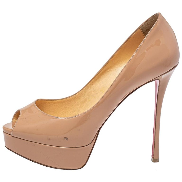 Christian Louboutin Beige Patent Leather Fetish Peep Toe Pumps Size 37 For Sale