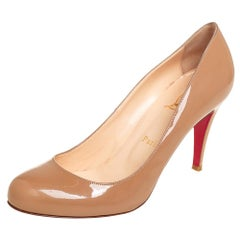 Christian Louboutin Beige Patent Leather Fifille Pumps Size 38.5
