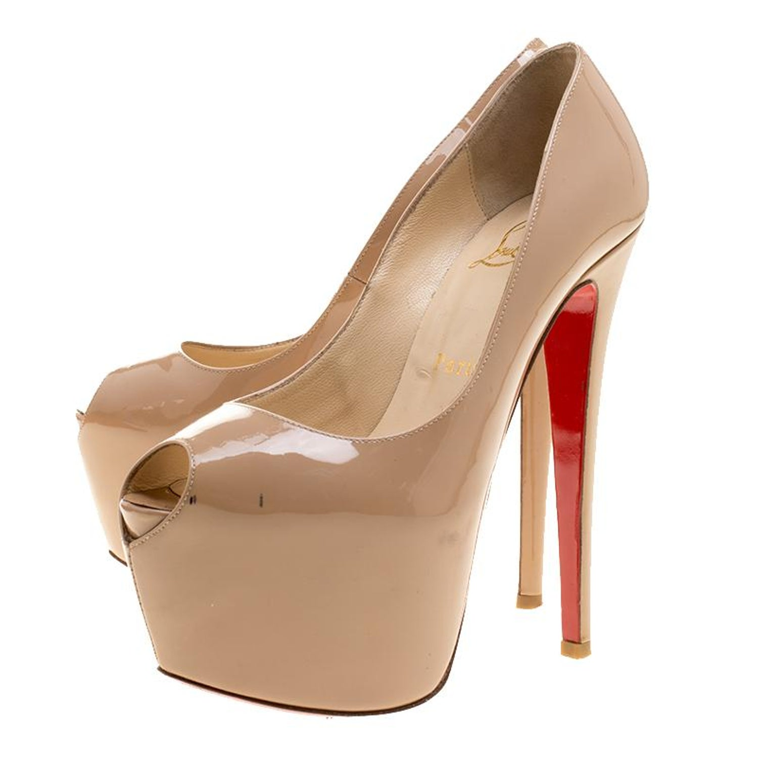 cheap for discount 63bc0 e02ab Christian Louboutin Beige Patent Leather Highness Peep Toe Platform Pumps  Size 3