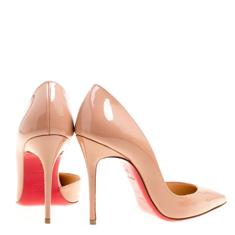 153c54b986 Orange Christian Louboutin Beige Patent Leather Iriza D'orsay Pointed Toe Pumps  Size 34 For