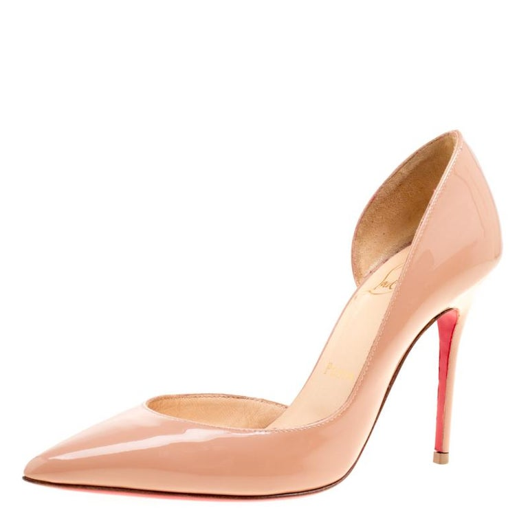 4ab5ab9198cb Christian Louboutin Beige Patent Leather Iriza D orsay Pointed Toe Pumps  Size 34 For Sale