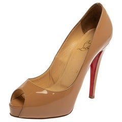 Christian Louboutin Beige Patent Leather Lady Peep Pumps Size 36.5