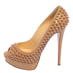 Christian Louboutin Beige Patent Leather Lady Peep Spiked Peep Toe Pumps Size 38