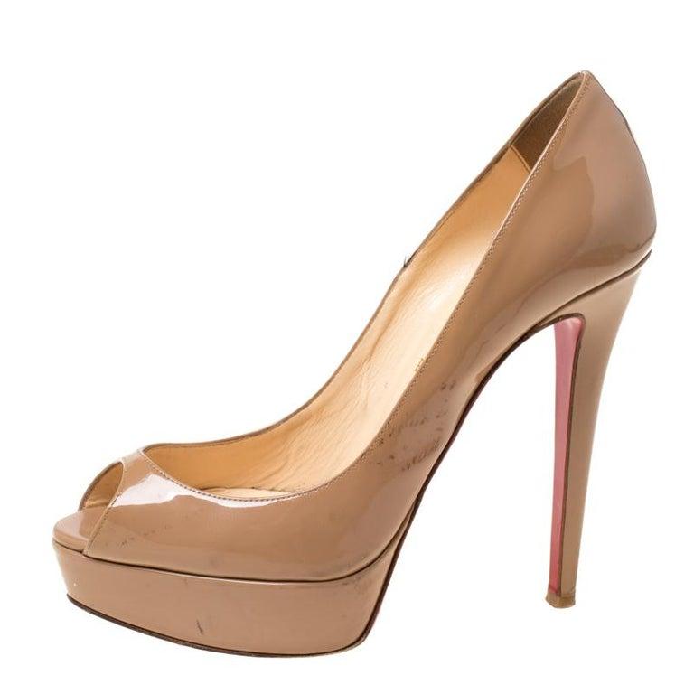 Christian Louboutin Beige Patent Leather Lady Peep Toe Platform Pumps 38.5 1