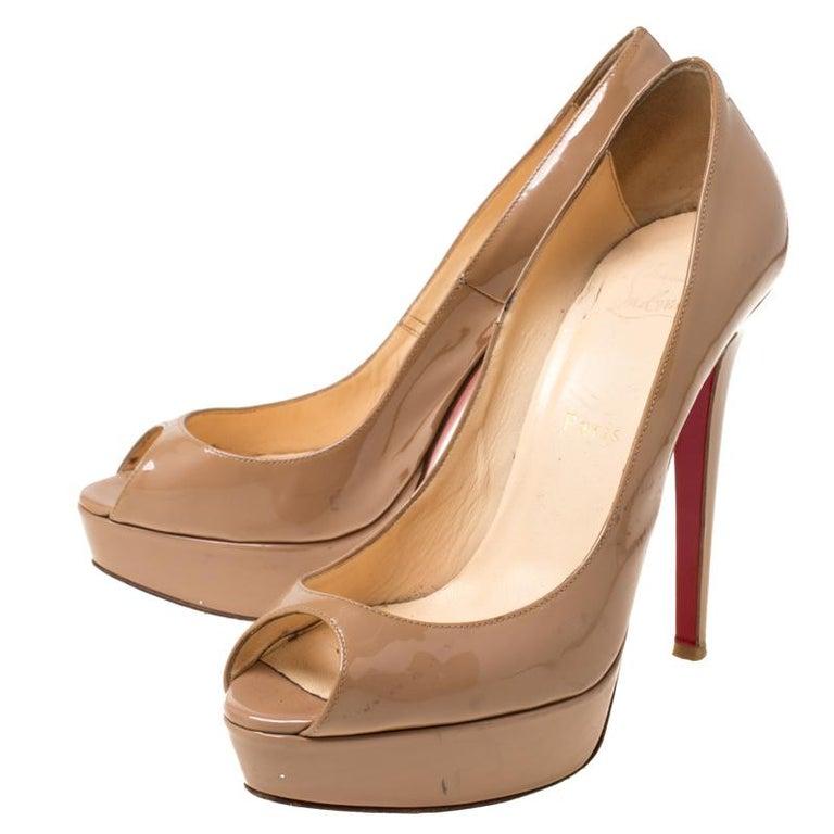 Christian Louboutin Beige Patent Leather Lady Peep Toe Platform Pumps 38.5 2