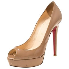 Christian Louboutin Beige Patent Leather Lady Peep Toe Platform Pumps 38.5
