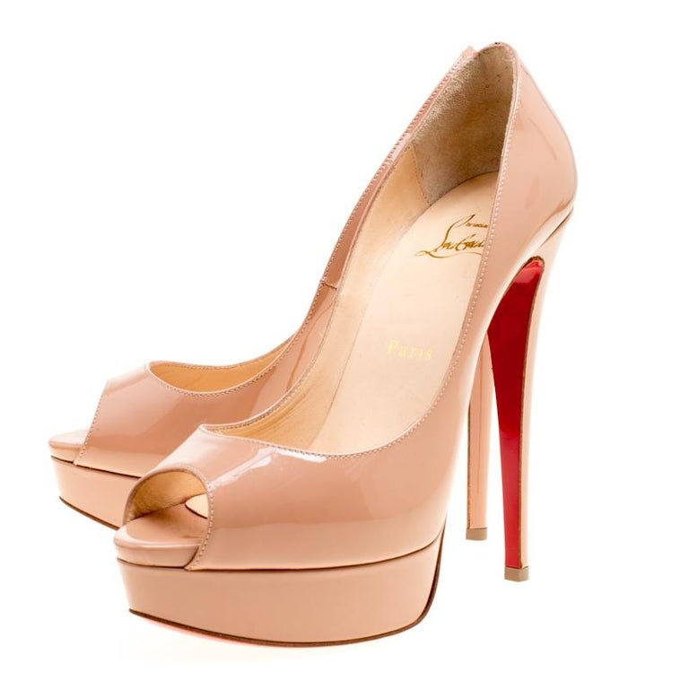 Christian Louboutin Beige Patent Leather Lady Peep Toe Platform Pumps Size 38 For Sale 1