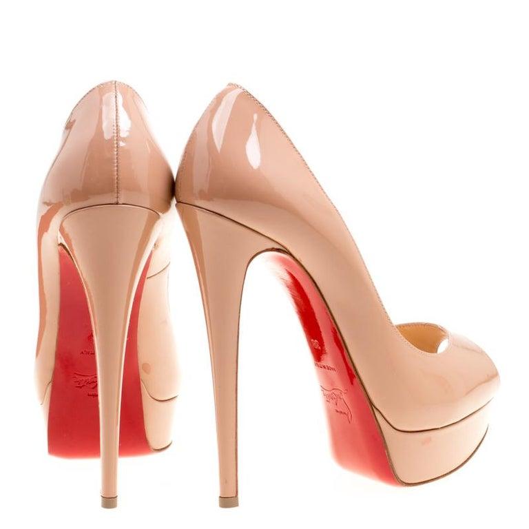 add9bd2b42d7 Orange Christian Louboutin Beige Patent Leather Lady Peep Toe Platform  Pumps Size 38 For Sale