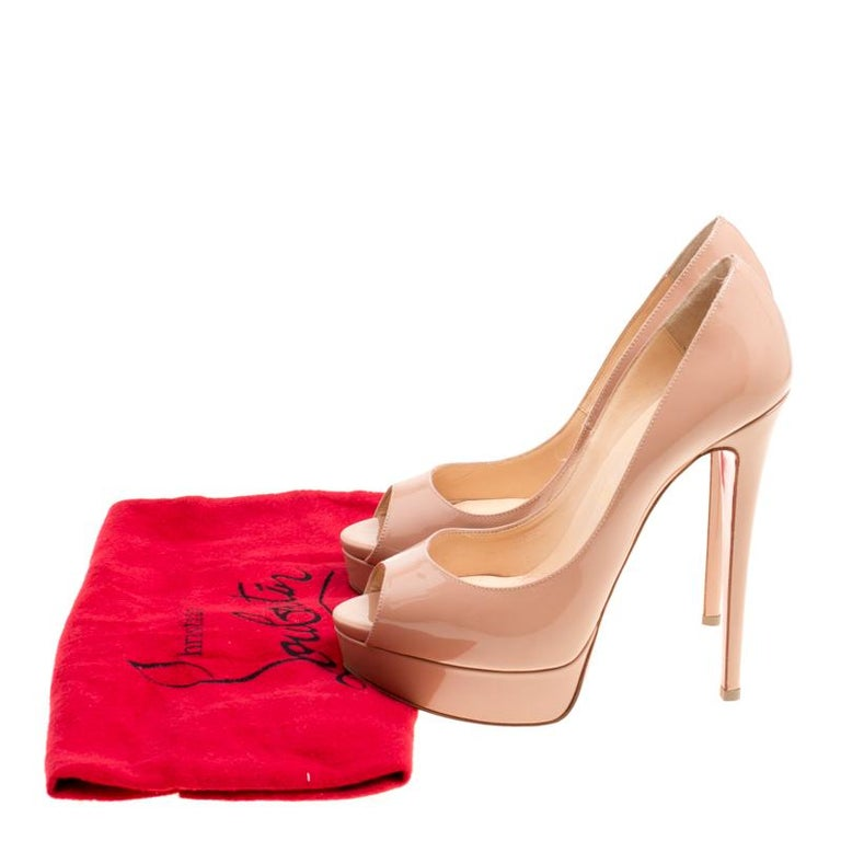 Christian Louboutin Beige Patent Leather Lady Peep Toe Platform Pumps Size 38 For Sale 3