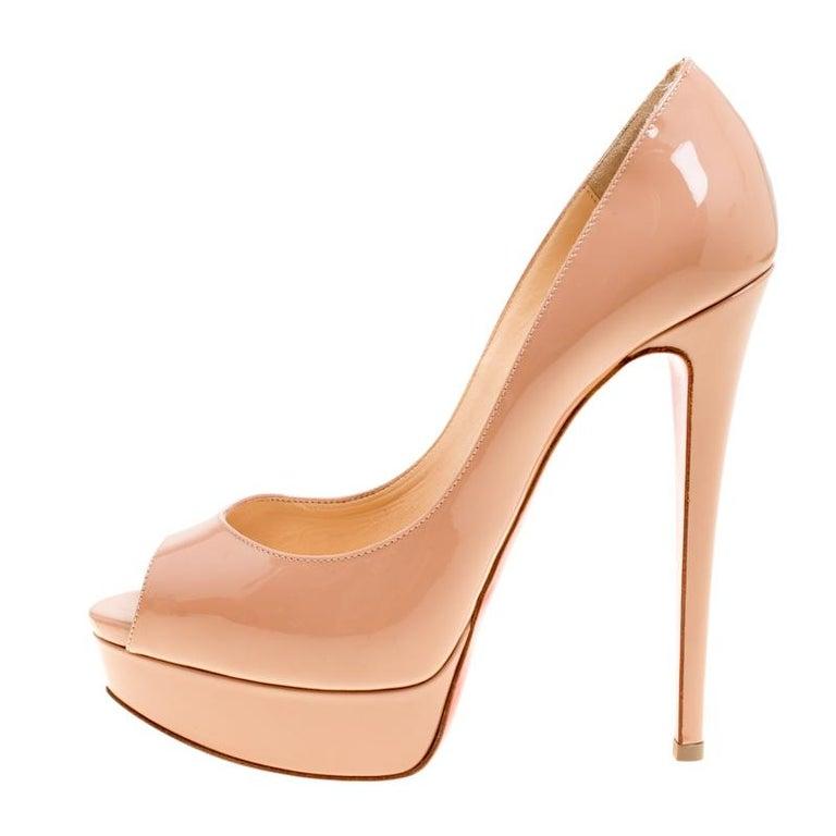 a341c76b3f5 Christian Louboutin Beige Patent Leather Lady Peep Toe Platform Pumps Size  38