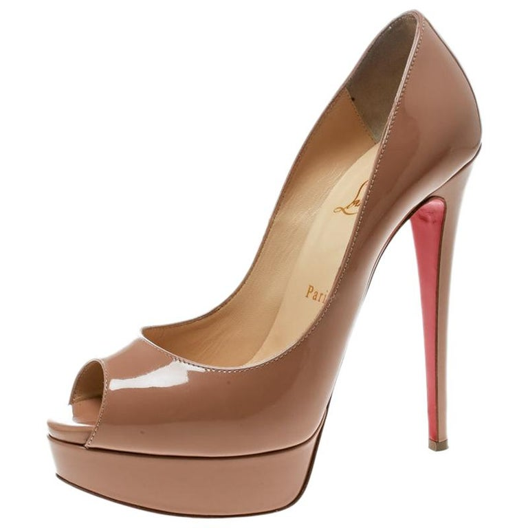reputable site ae75c 6e1bc Christian Louboutin Beige Patent Leather Lady Peep Toe Platform Pumps Size  38.5