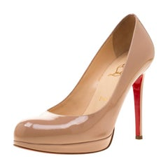 Christian Louboutin Beige Patent Leather Neofilo Platform Pumps Size 37