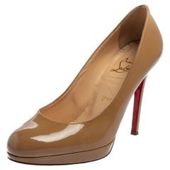 Christian Louboutin Beige Patent Leather Neofilo Pumps Size 36.5