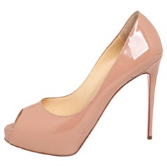 Christian Louboutin Beige Patent Leather New Very Prive Peep Toe Pumps Size 39.5